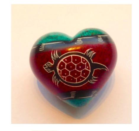 """Hjärta """"Sköldpadda"""", täljsten, Kenya, Fair Trade"""