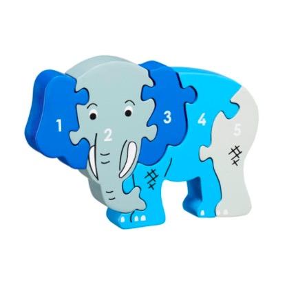 Pusseldjur i trä, siffror 1- 5, elefant