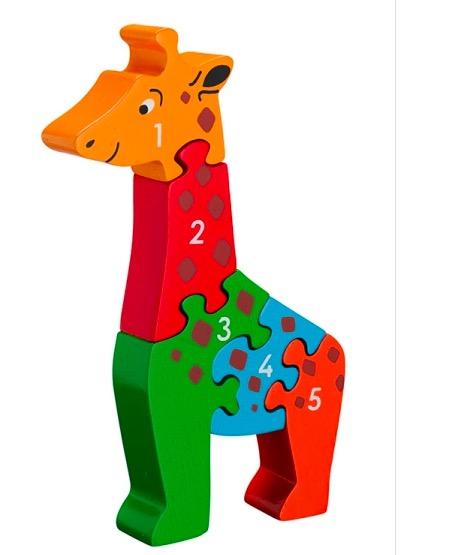 Pusseldjur i trä, siffror 1- 5, giraff