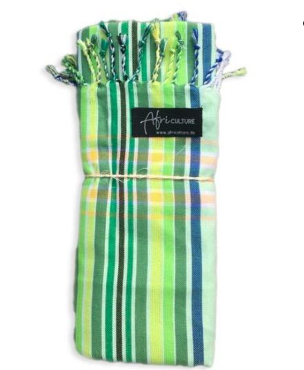 Traditionell kikoi, strandhandduk, sarong från Kenya, grönt-randigt mönster. Östafrikansk bomull. Fair Trade.