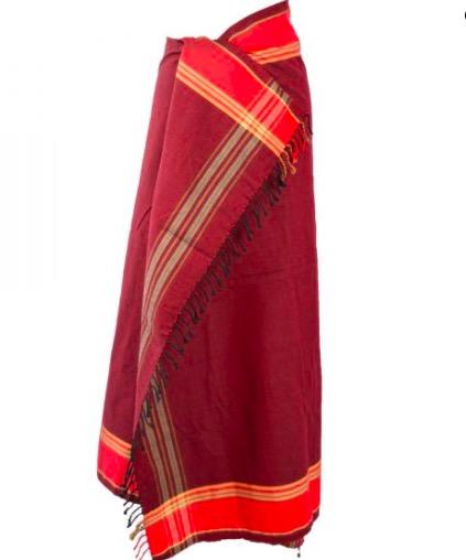 Klassisk Swaheli-kikoi från Kenya. Strandhandduk, sarong, Fair Trade. Östafrikansk bomull. Bourdeauxröd.