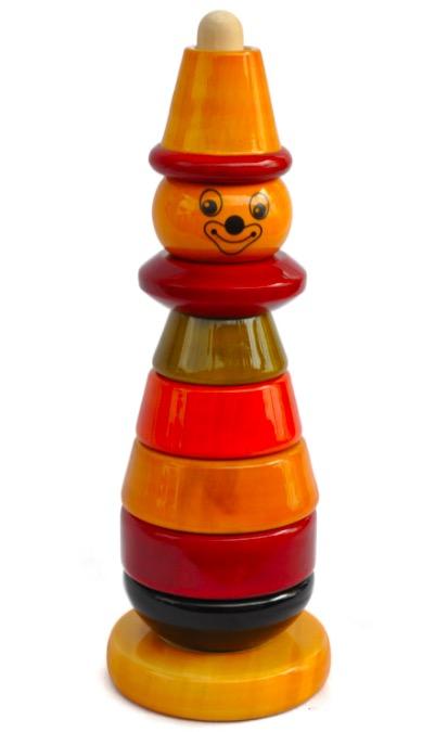 Stapelsorterare, en clown i trä, med naturliga färger, 8 rörliga delar. Fair Trade.