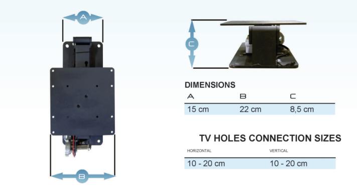 HDconnect motoriserat takfäste 50kg måttskiss