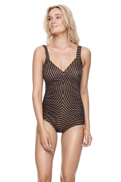 Scampi baddräkt Bravo Stripe Black/Tan