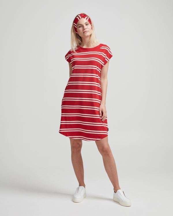 Holebrook Nathalie Capsleeve Dress 912619 Scarlett/ offwhite