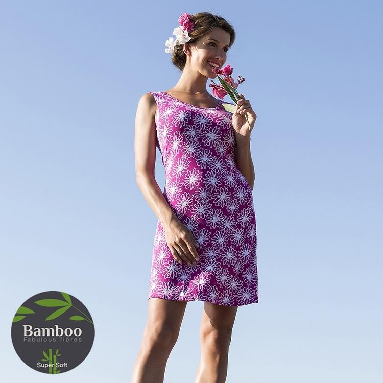 WIKI strandklänning i bambu W2001 Floral Rosa