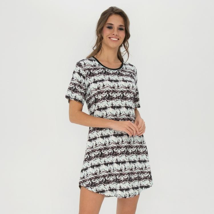 Lady Avenue Bigshirt Soft Bamboo 73-1040 / 305 Black Aqua