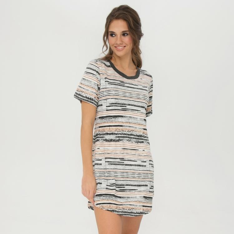 Lady Avenue Bigshirt Soft Bamboo 52-1030 / 302 Camel Stripe