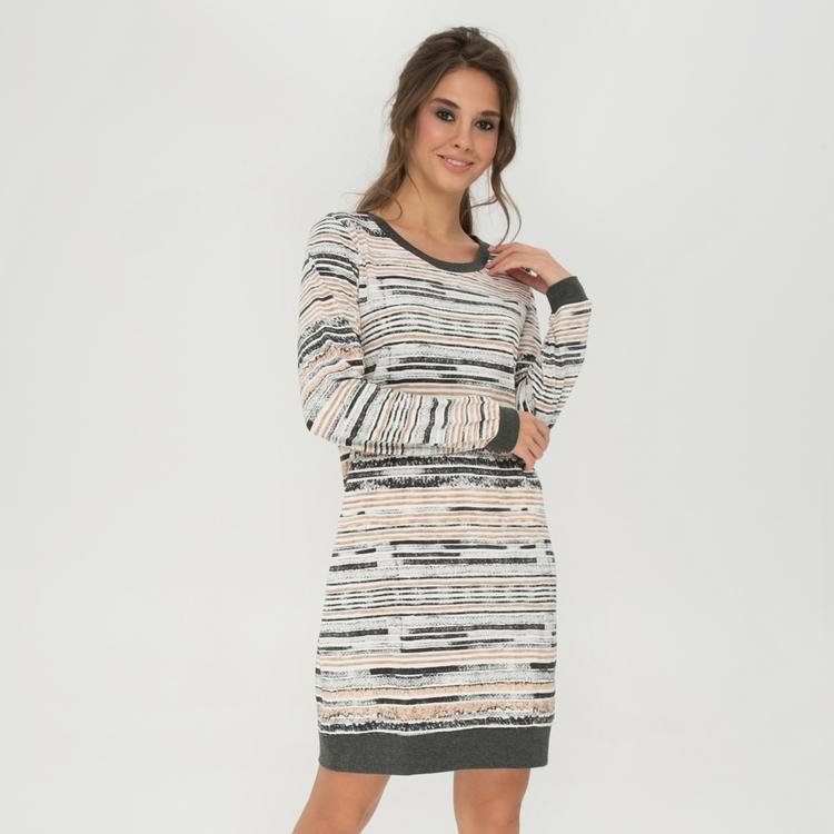 Lady Avenue långärmad tunika nattlinne  Bamboo 52-1031 / 302 Camel Stripe