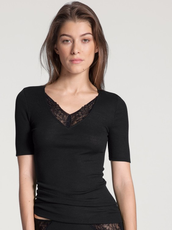 Calida topp 14394 Silky Wool Glam / 996 svart