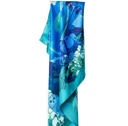 Norse Goddess Night Blue Silk scarf