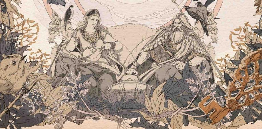 The Soldiser illustration of the goddess Frigg and the god Odin
