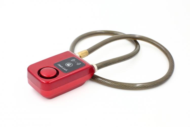 Bluetooth cykellås med larm - Röd - Vajer