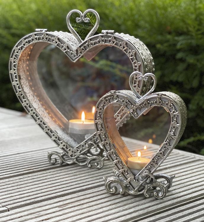 Lykta hjärta antiksilver-L