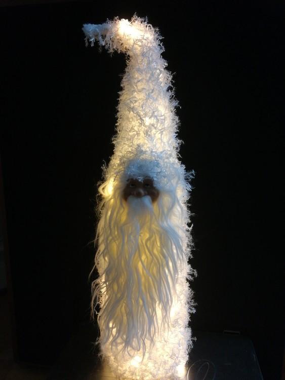 Fluffig tomte med LED belysning