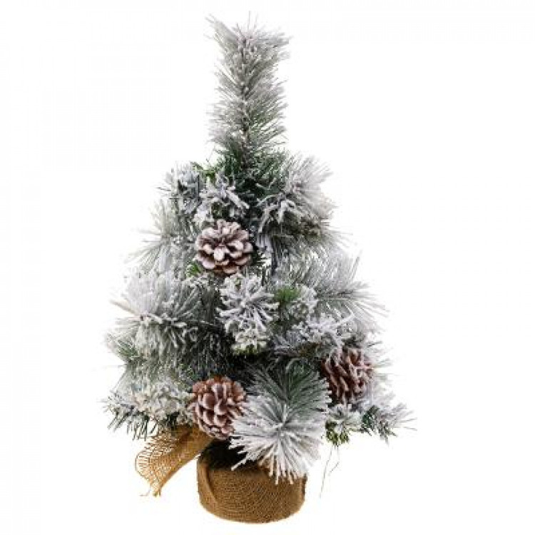 Träd med konstsnö och kottar. Höjd 50 cm