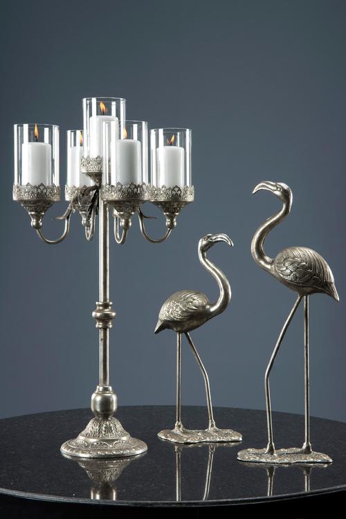 Femarmad kandelaber silver 73 cm hög