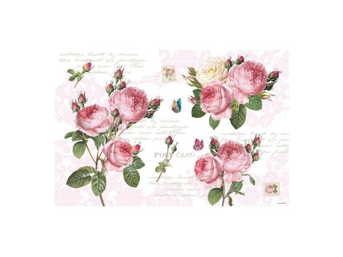 Bordsablett/ underlägg  med rosor- Postcard
