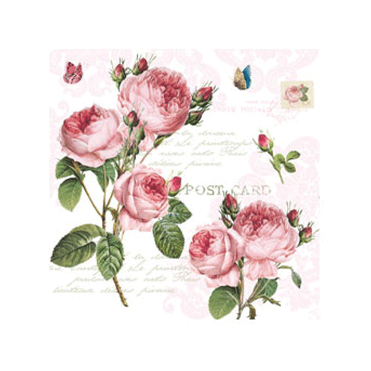 Servetter med rosor- Postcard