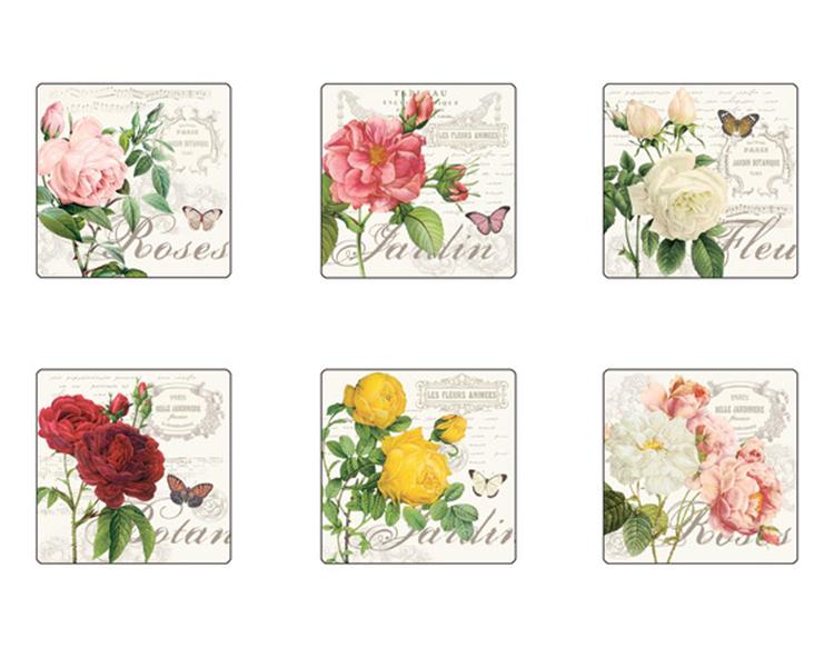 Glasunderlägg 6 pack med rosor