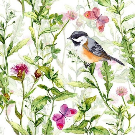 Servetter fågel och fjärilar