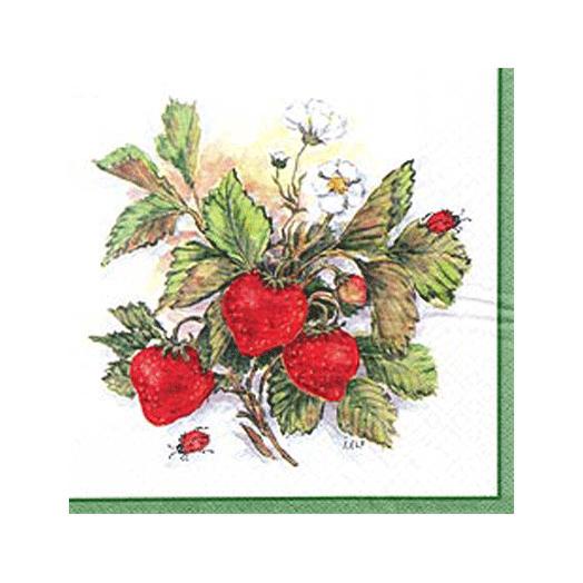 Servetter med jordgubbar