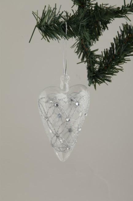 Glashjärta med silver-2 pack