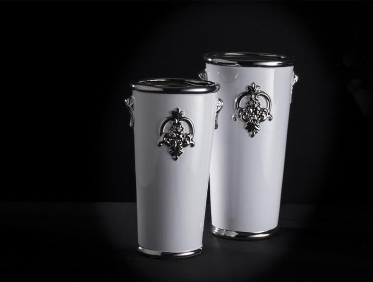 Kruka vit/silver 27 cm