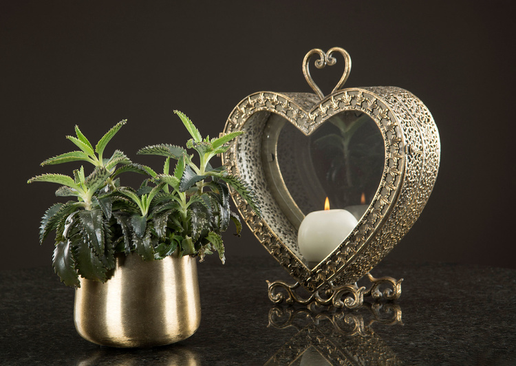 Ljuslykta hjärta 31,5 cm antik mässing