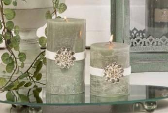 Rustikt blockljus med smycke- Jadegrön- 2 storlekar