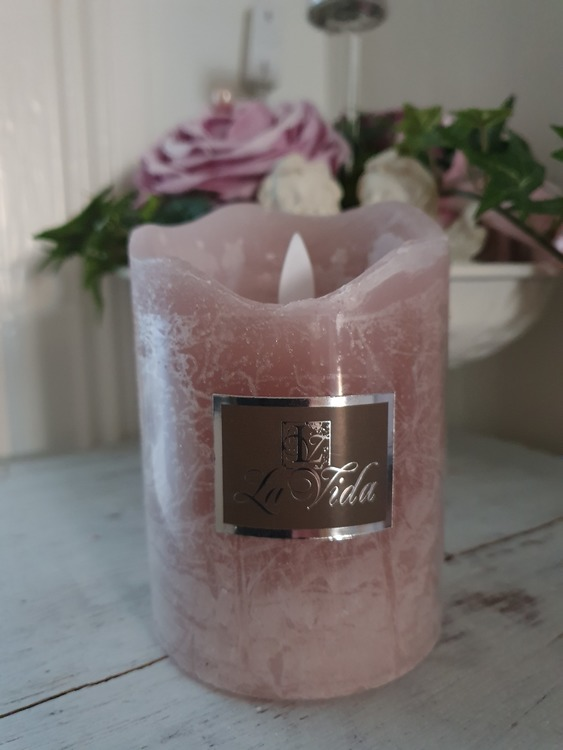 Rosa Led blockljus-11 cm