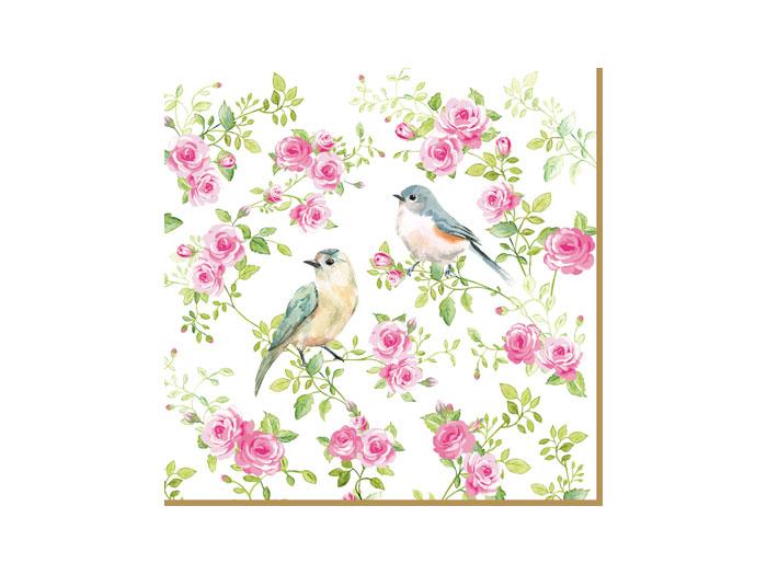 Servetter rosor och fåglar