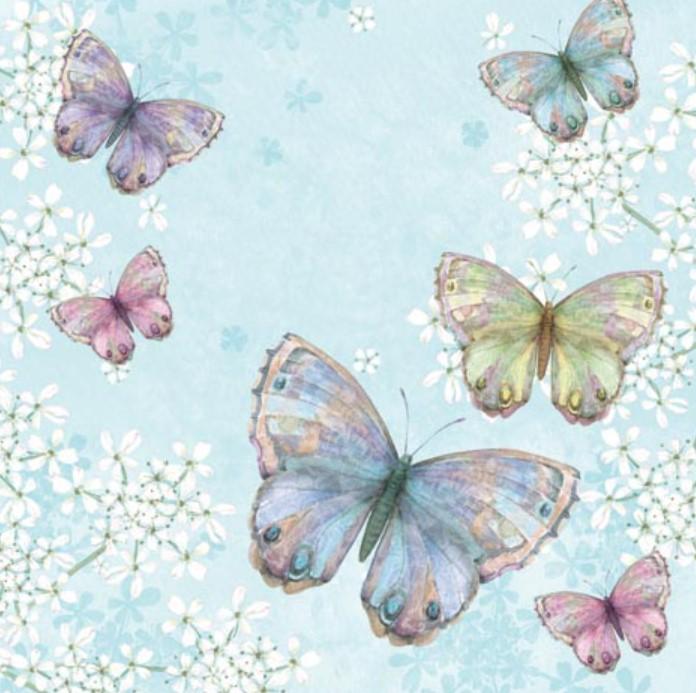 Servetter Fjärilar- Ljusblå