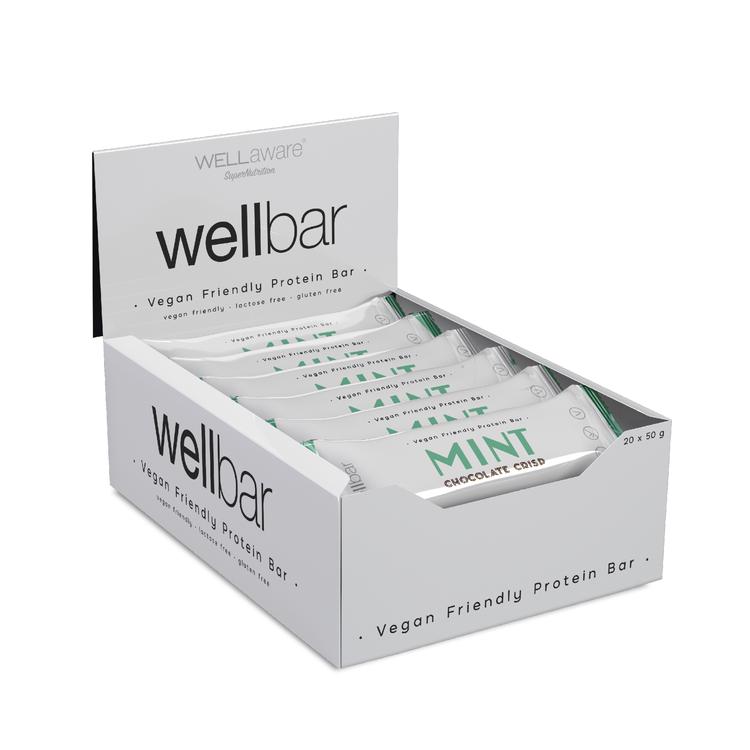WellBar MINT Chocolate Crisp 50 g - Box 50 g x 20 st