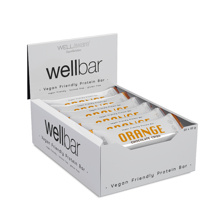 WellBar ORANGE Chocolate Crisp 50 gram - Box 50 gram x 20 st