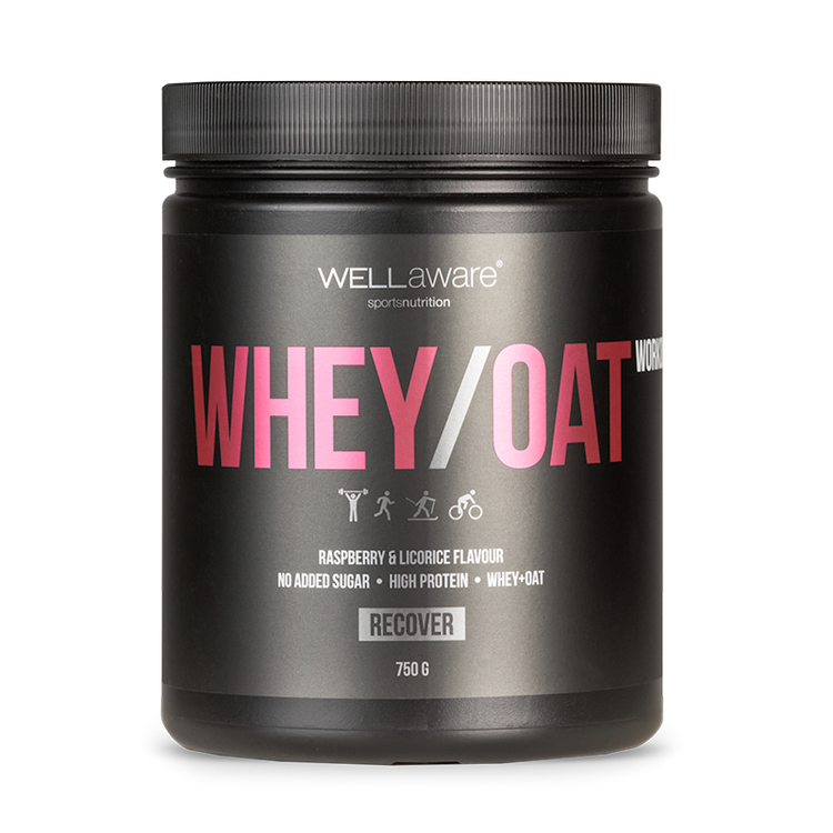 Whey/Oat Proteinpulver Hallon/Lakrits 750 g