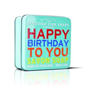 Tvål i snygg plåtask HAPPY BIRTHDAY