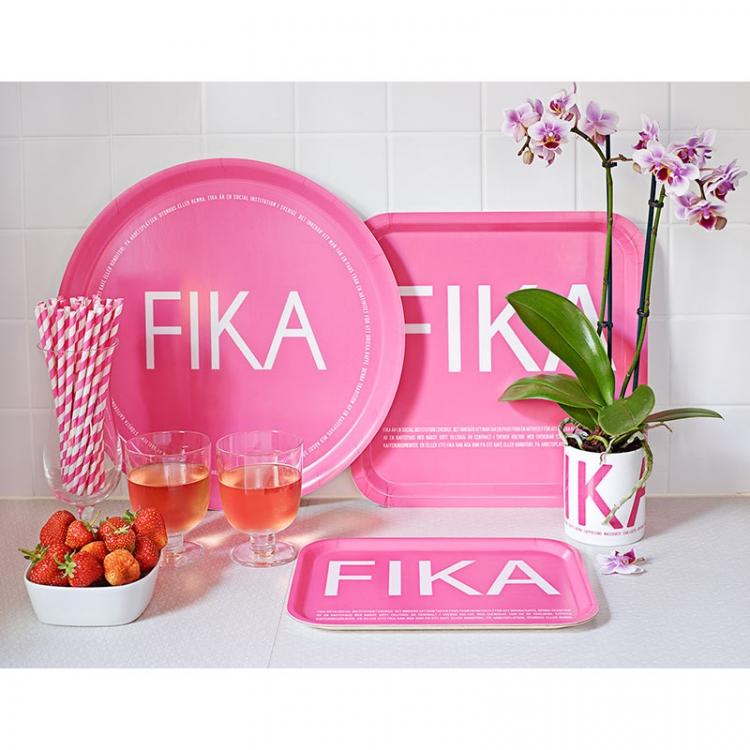 Bricka rund rosa FIKA