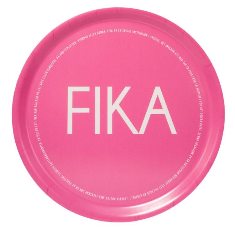 Bricka rund rosa-FIKA