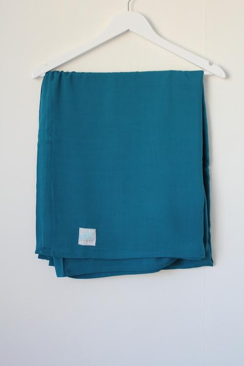 XL Hijab i bomullslinne - petrol