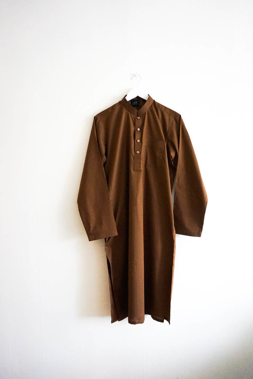 The Traditonal Pakistani Qamees including trousers - Chocolate Brown