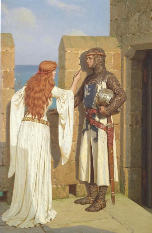 THE SHADOW - JUNGFRUN OCH KORSRIDDAREN av Edmund Blair Leighton