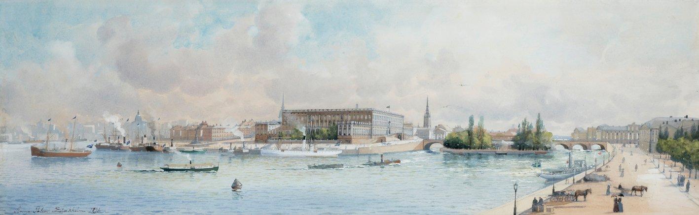 PANORAMAVY ÖVER STOCKHOLMS SLOTT av Anna Palm de Rosa