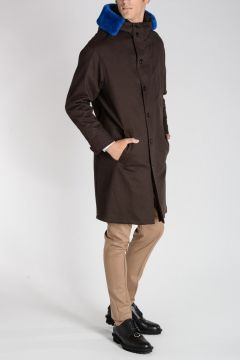 Cotton Blend Coat With Leather Details