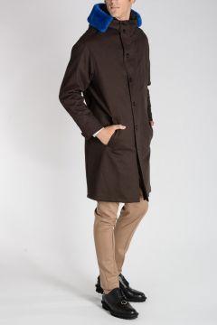 Cappotto in Misto Cotone con Dettaglio in Pelle