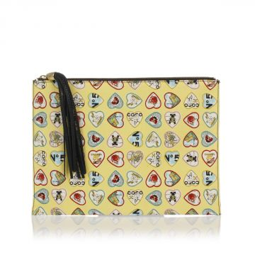 Fabric and Leather Clutch Bag