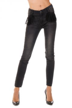 Jeans con Frange in Denim Stretch 11 cm
