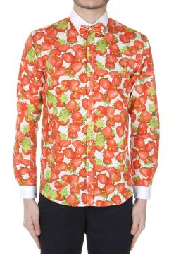 Strawberries Patterned AShirt with Bow Tie