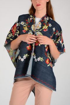 Flowers Embroidered Poncho