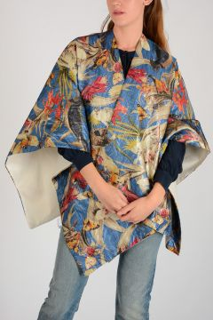 Flowered Poncho with Birds